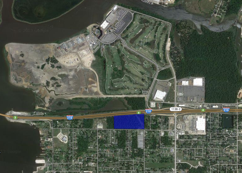 17.5 acres highlighted in blue.  Golden Nugget, L'auberge, Sams, Walmart and other nearby.